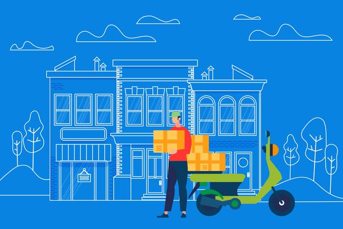 Man delivering boxes Illustration