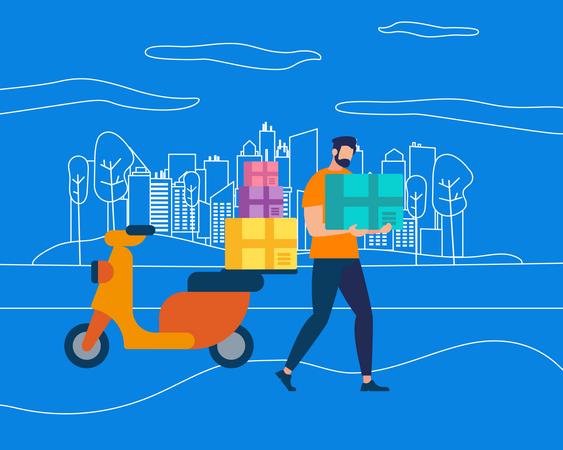 Man delivering Courier on Motorbike Illustration