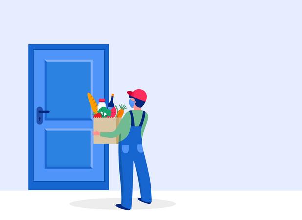 Man delivering grocery at door step Illustration