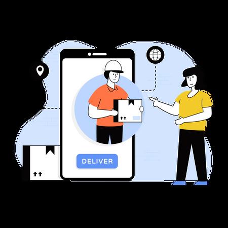 Man delivering through smartphone Illustration