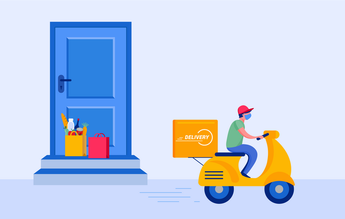 Man delivery grocery Illustration