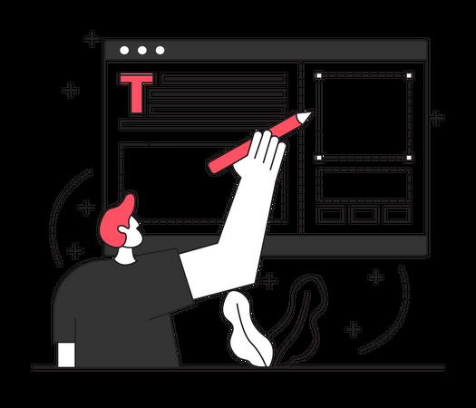 Man designing layout website Illustration