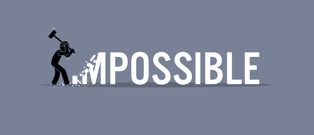 Man destroying the word impossible to possible. Illustration