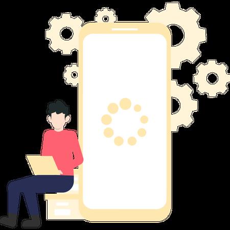 Man developing mobile application using laptop Illustration