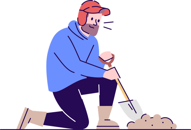 Man digging hole in the ground using hand shovel Illustration
