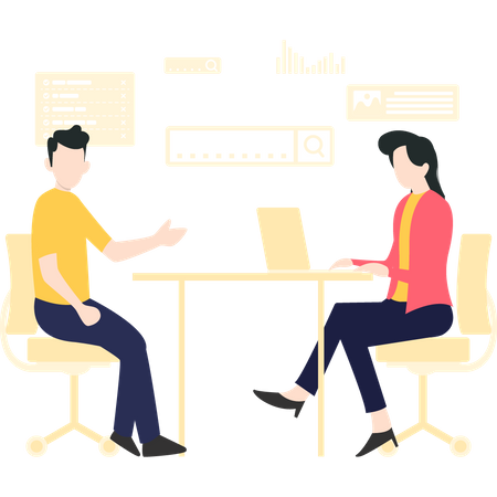 Man discussing about project with female developer Illustration