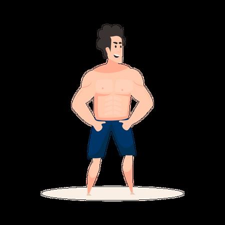 Man doing Beach Activity Illustration