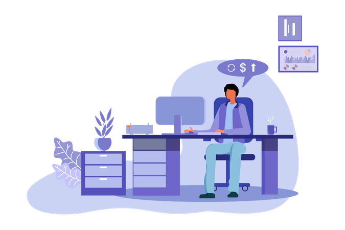 Man Doing Business Accounting Illustration