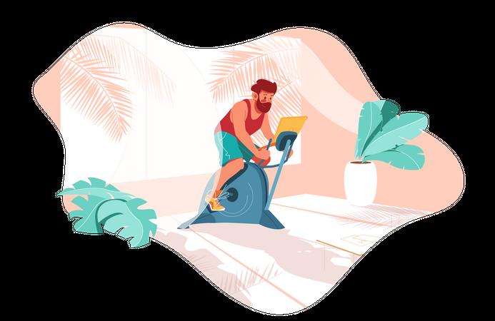Man doing cycling on bicycle simulator Illustration