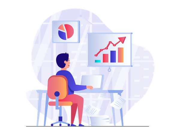 Man doing data analysis Illustration