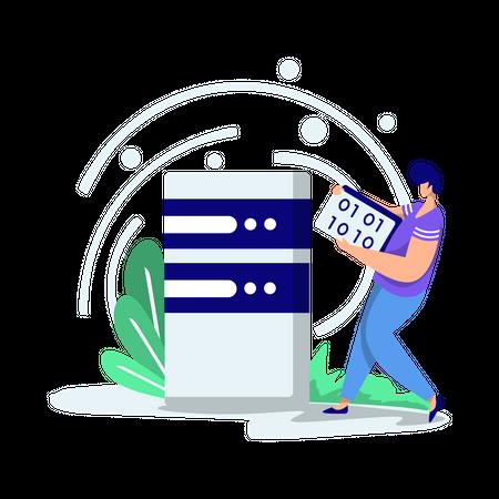 Man doing data storage Illustration