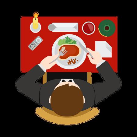 Man doing dinner Illustration