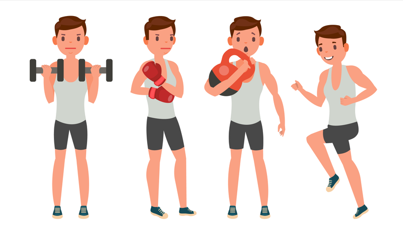 Man Doing Exercise With Different Pose Illustration