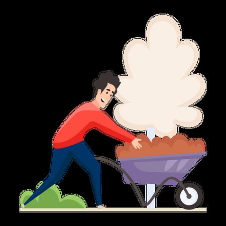 Man doing Gardening Illustration