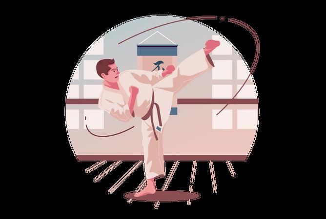 Man doing Karate Illustration