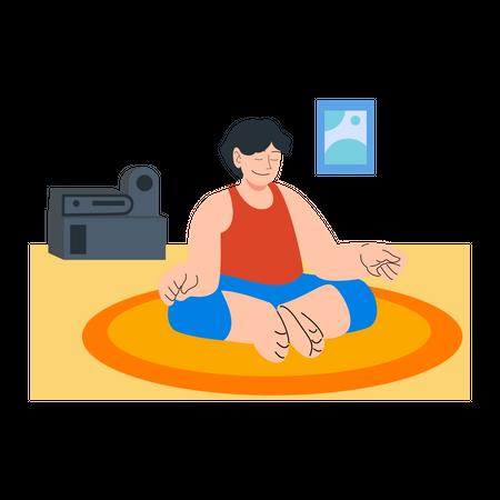 Man doing meditation Illustration