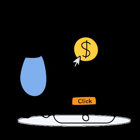Man doing money transfer using mobile banking Illustration