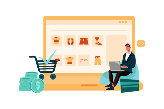 Man doing online payment Illustration