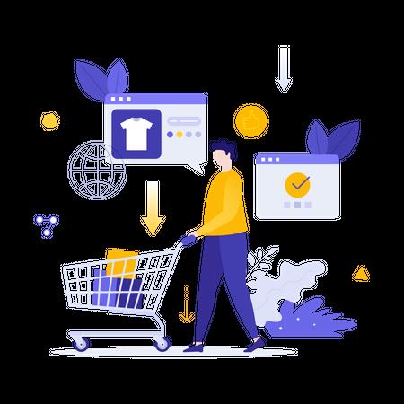 Man doing online shopping Illustration