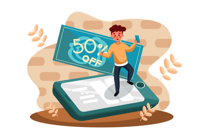 Man doing online shopping with discounted price Illustration