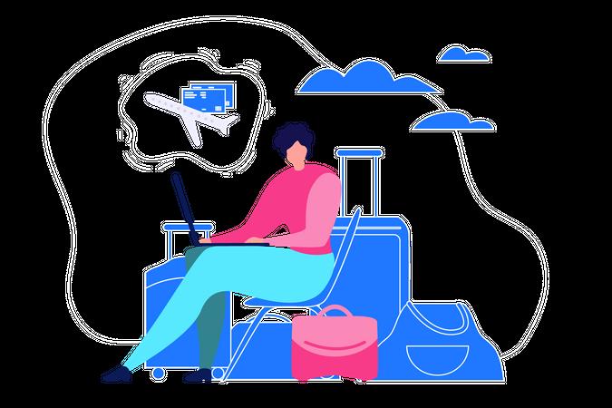 Man Doing Online Ticket Booking Illustration