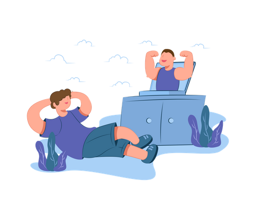 Man doing online workout session Illustration