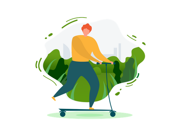 Man doing Outdoor Activities with Eco Transport Use of kick scooter Illustration