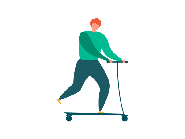 Man doing Outdoor Activities with kick scooter Illustration
