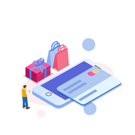 Man doing payment by credit card Illustration