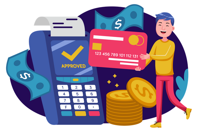 Man doing payment using card Illustration