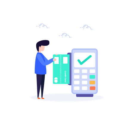 Man doing payment using swipe machine Illustration