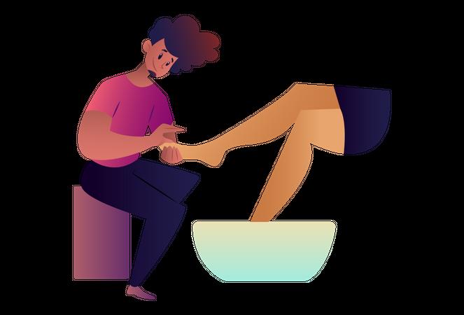 Man doing pedicure of women Illustration