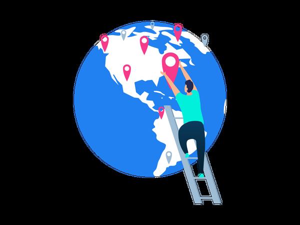 Man doing planning of world tour Illustration
