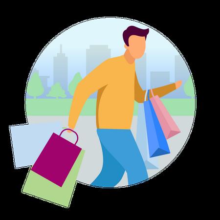 Man doing shopping Illustration