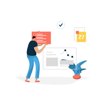 Man doing tasks on schedule Illustration