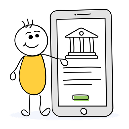 Man doing transaction using mobile banking Illustration