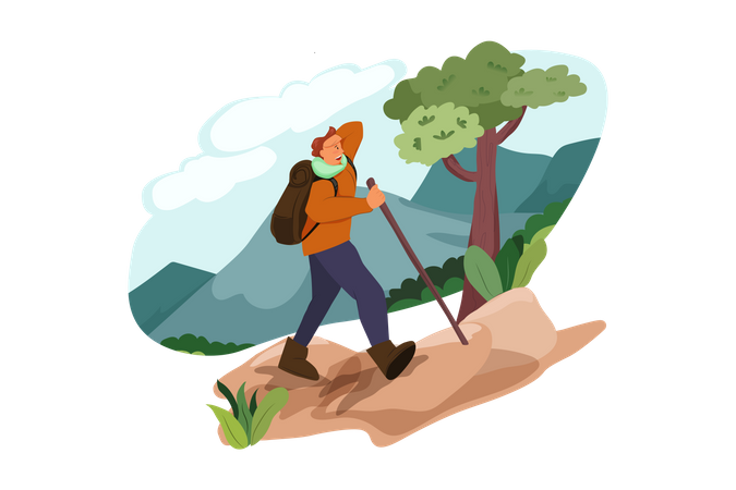 Man doing trekking Illustration