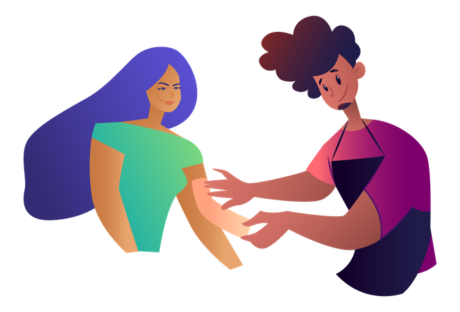 Man doing waxing to the girl Illustration