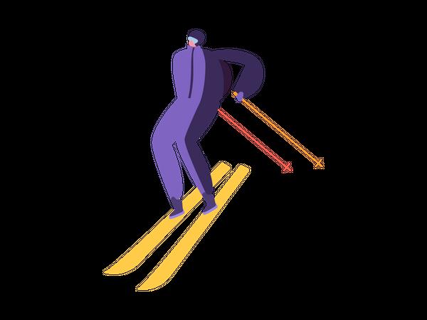 Man doing winter activity Illustration