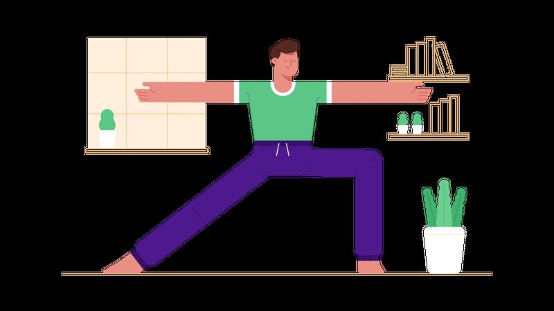 Man doing yoga Illustration