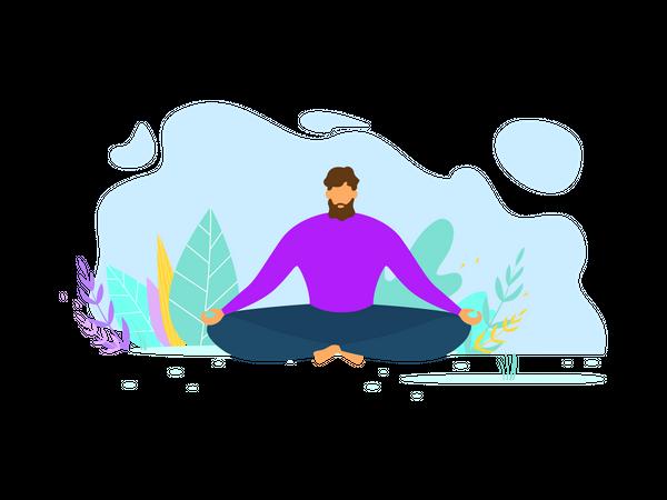 Man doing yoga and meditation Illustration