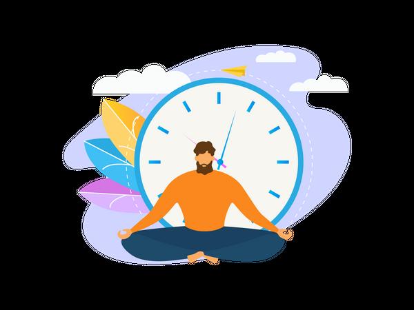 Man doing yoga in the office Illustration