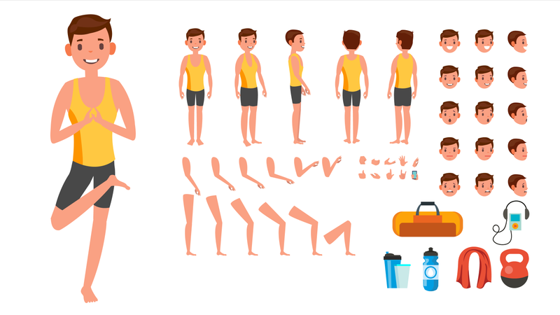 Man Doing Yoga With Different Poses Illustration