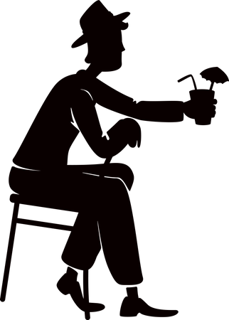Man drinking alcohol Illustration