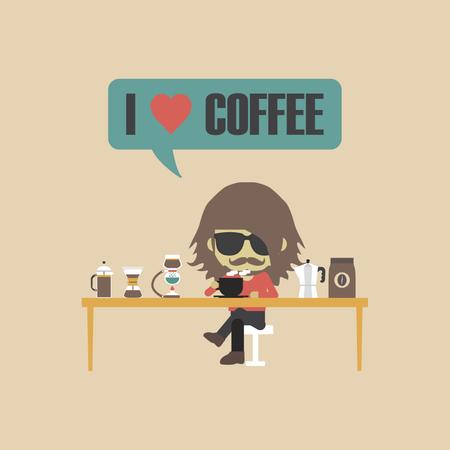 Man Drinking Coffee With Unplug Method, Retro Style Illustration