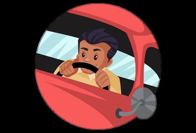 Man driving car Illustration