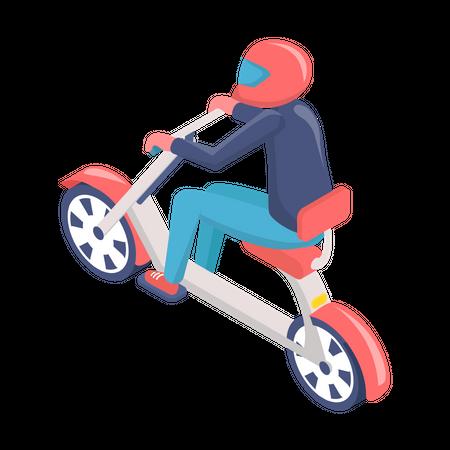 Man driving electric bike Illustration