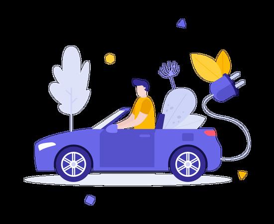 Man driving electric car Illustration