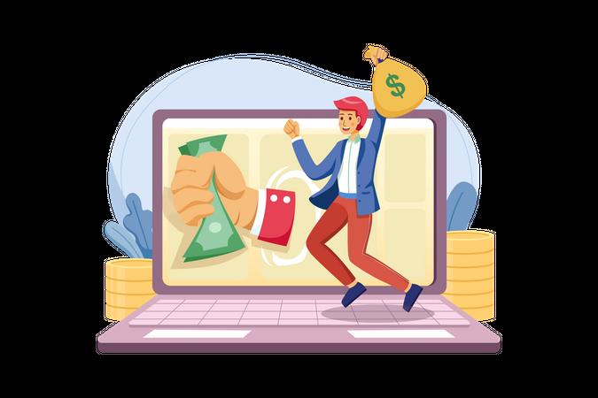 Man Earning online Money Illustration