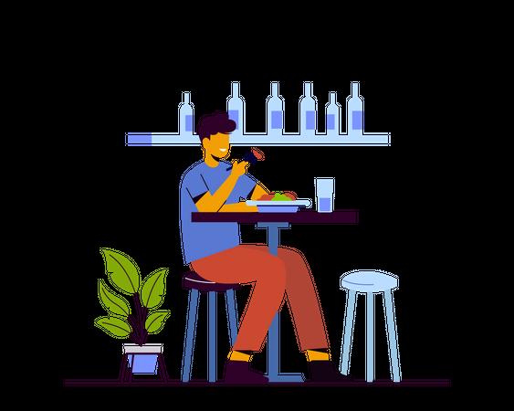 Man eating fruits in cafe Illustration